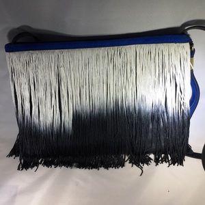 NWOT Zara leather suede fringe crossbody clutch